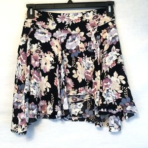 Free People Floral Asymmetric Raw Hem Mini Skirt 0